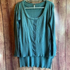 Free People Lace Road Linen High Low Sweater